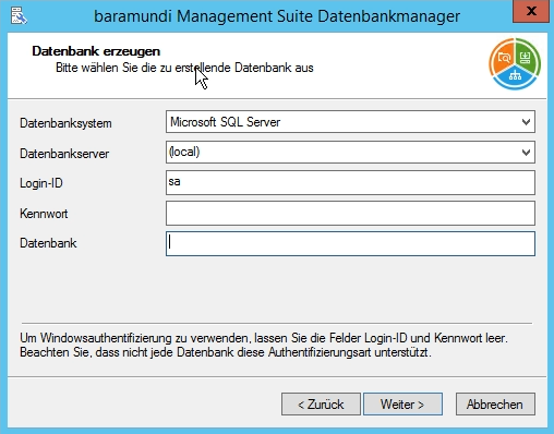 Baramundi Management Suite - Datenbank Informationen eingeben