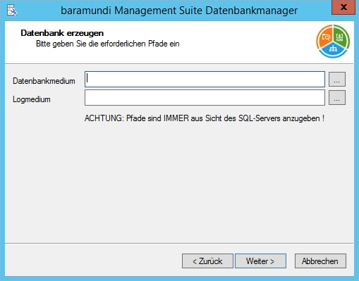 Baramundi Management Suite - Datenbank Dateien anlegen