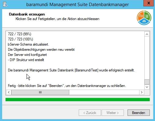Baramundi Management Suite - Datenbank Einrichtung wird durchgeführt
