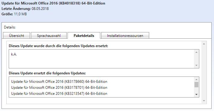 Paketdetails - Ersetzte Updates