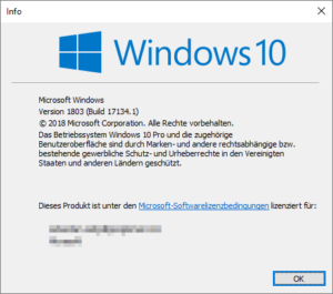 Microsoft Windows 10 April 2018 Versionsanzeige