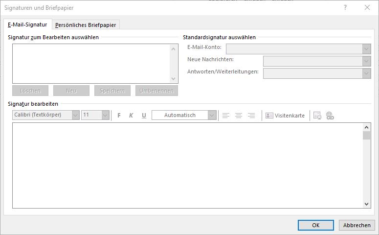 E-Mail Signatur deaktivieren (Outlook)