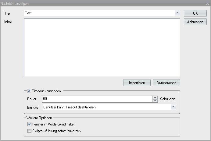 Baramundi Automation Studio - Nachricht Anzeigen Dialog