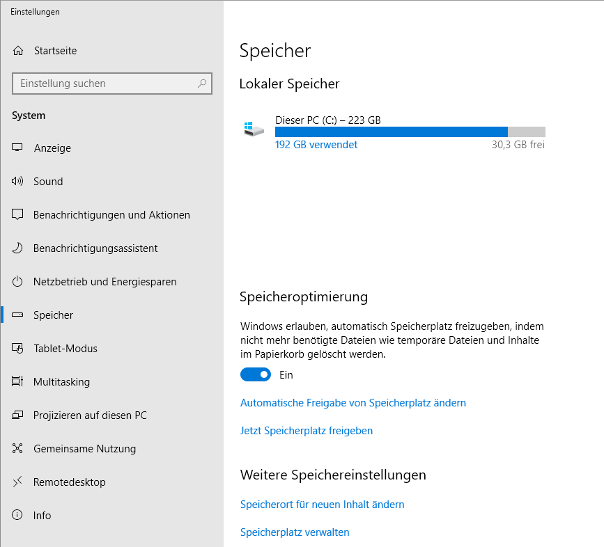 Datenträgerbereinigung Windows 10 - 1803