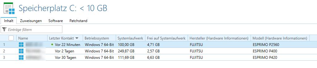 Dynamische Gruppe - Speicherplatz C unter 10GB - Ergebnis
