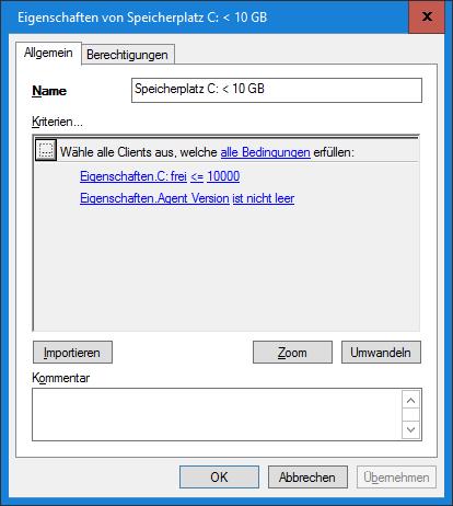 Dynamische Gruppe - Speicherplatz C unter 10GB