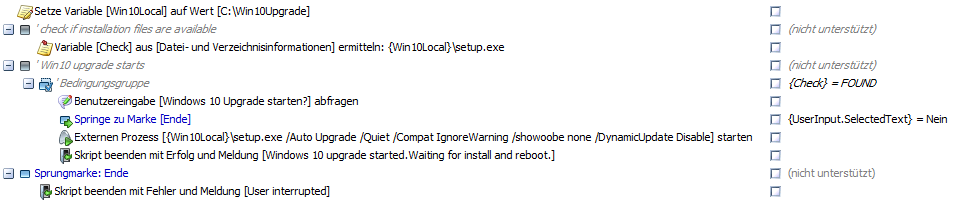 baramundi Deploy Script - Windows 10 Upgrade
