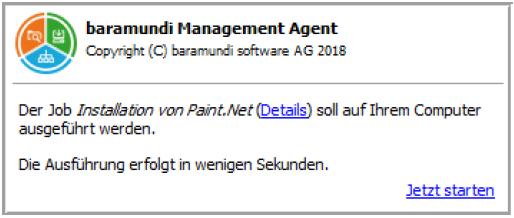baramundi Management Suite 2018 - Job-Infofenster